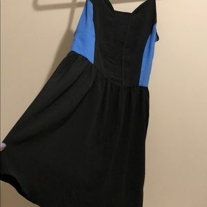 black dress with blue detail on sides